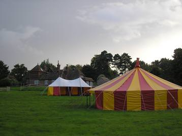small circus tent and marquee