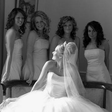 Bride and bridesmaids at Dissington Hall